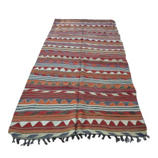 Turkish Wool Kilim Rug- 4′4″ × 8′3″