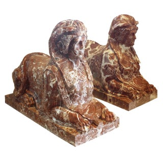 Sphinx Pair / Pair of Marble Sphinges, Classical Greek Style