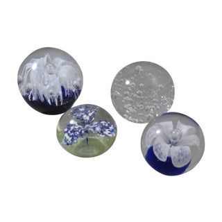 Vintage Blues & Clear Orb Paperweights - Set of 4