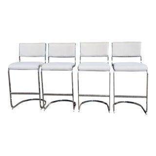 Milo Baughman Style White Bar Stools - Set of 4