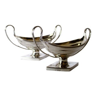 Georgian Sterling Silver Footed Salts - A Pair