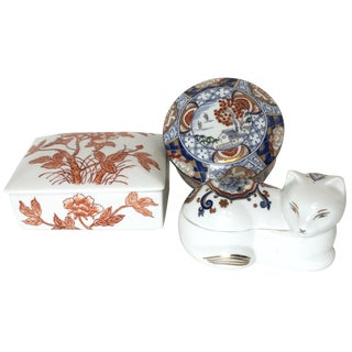Chinoiserie Porcelain Trinket Boxes - Set of 3