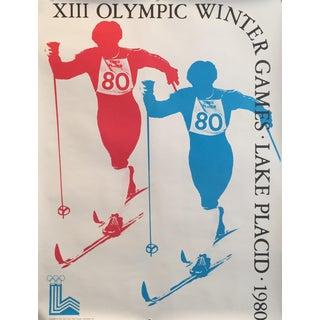 1980 Original Vintage Lake Placid Winter Olympics Poster, Cross Country Skiing