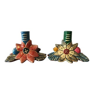 Mexican Folk Art Candle Holders - a Pair