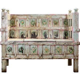 Cascade Hand-Painted Wooden Storage Bench
