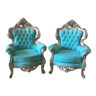 Baroque Bergere Chairs - Pair