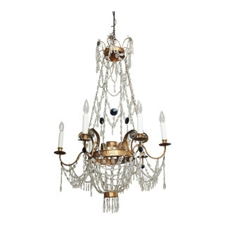 Early 19th Century Tuscan GILT TOLE AND CRYSTAL CHANDELIER