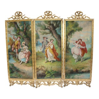 Antique Baroque Gold Painted TRI-Fold Victorian Tapestry Room Screen Divider