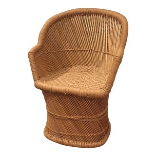 Vintage Pencil Bamboos Woven Jute Peacock Chair