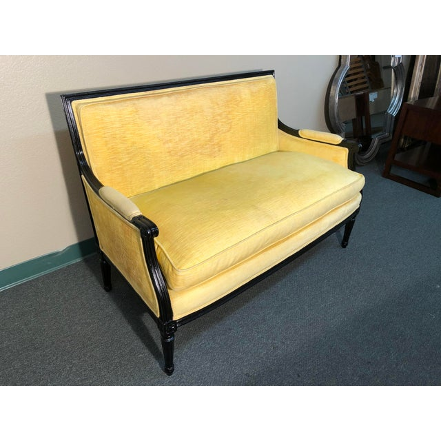 Vintage Yellow Upholstered Settee - Image 2 of 6
