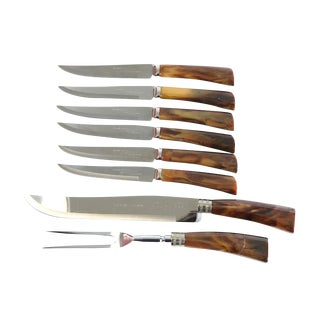 Vintage W. Richardson Steak Knives & Craving Set- Set of 9