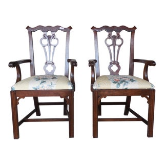 Pennsylvania House Cherry Chippendale Style Arm Chairs - A Pair