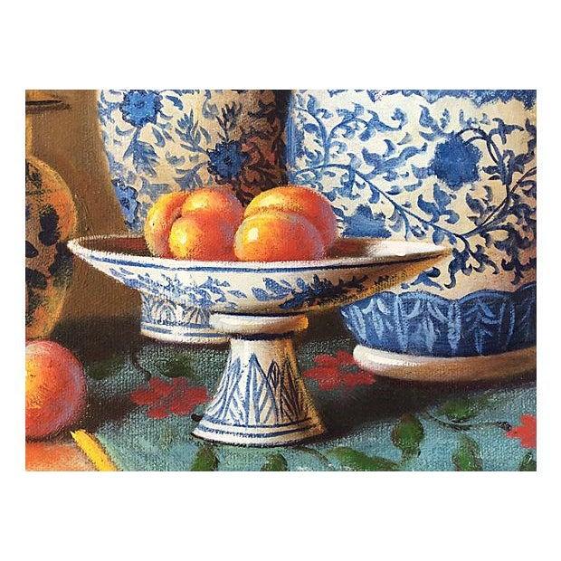 Blue & White Porcelain Still Life Painting - Image 4 of 5