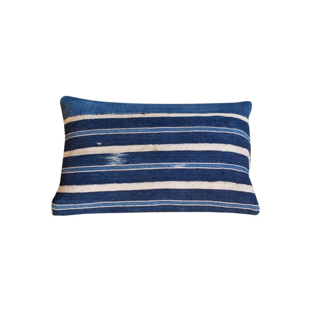 Handwoven Striped Indigo Lumbar Pillow - Image 1 of 8