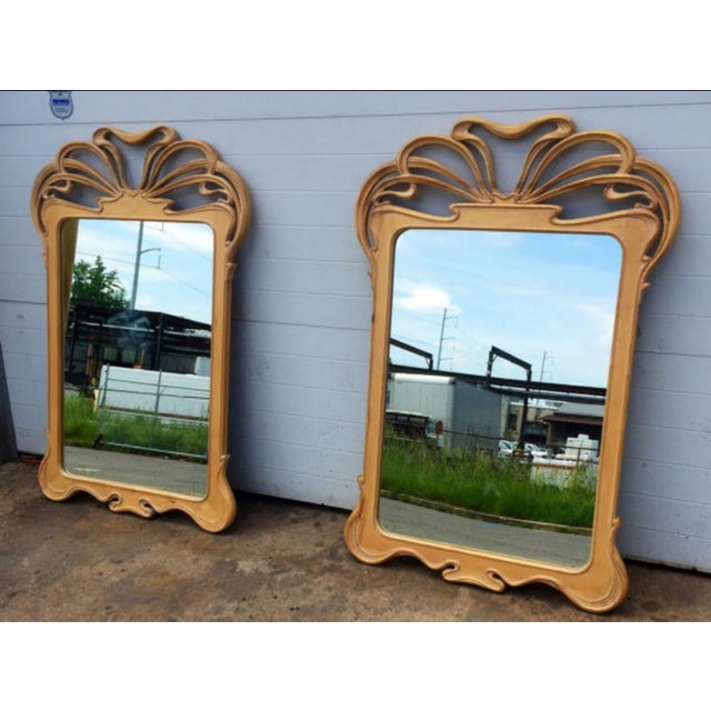 Image of Art Nouveau Carved Wall Mirrors - A Pair