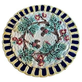 Vintage Majolica Blackberry Basketweave Plate
