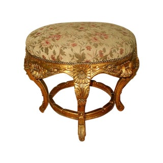 France 19th C. Gilt Stool with Original Mohair
