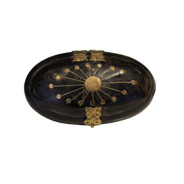 Antique Black and Brass Box - Image 2 of 4