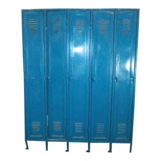 Vintage Blue Metal Lockers