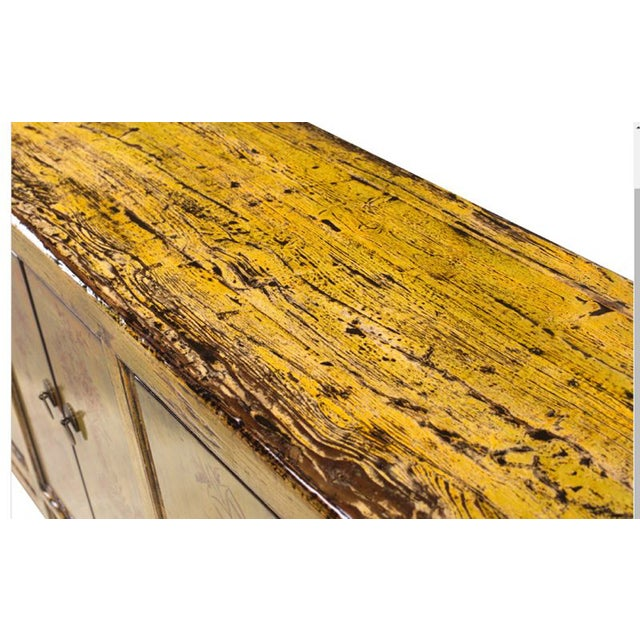 Yellow & Green Floral Sideboard or Buffet Table - Image 4 of 5