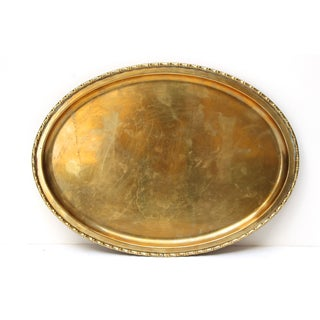 Brass Faux Bamboo Rim Oval Tray