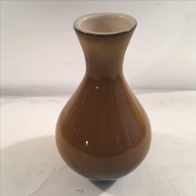 Image of Vintage Amber & White Cased Glass Vase