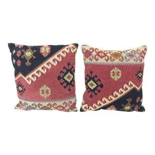 Vintage Boho Needlepoint Throw Pillows - Pair