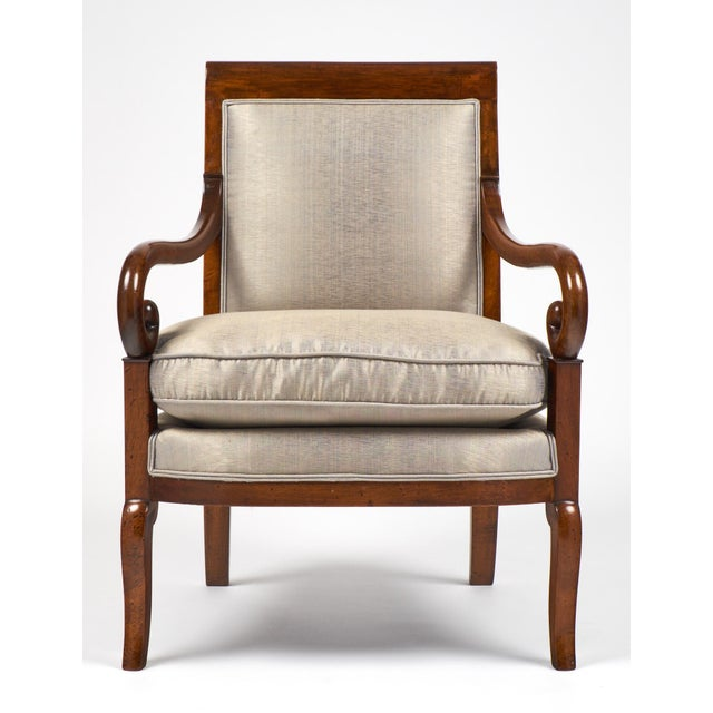 Image of 19th Century French Restauration Period Walnut Armchair