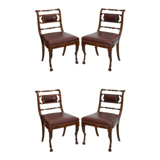 Set of Four Italian Empire Walnut Sidechairs, Early 19th Century
