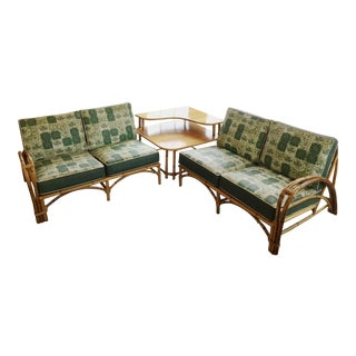Heywood-Wakefield Bamboo Sectional Loveseats & Corner Table