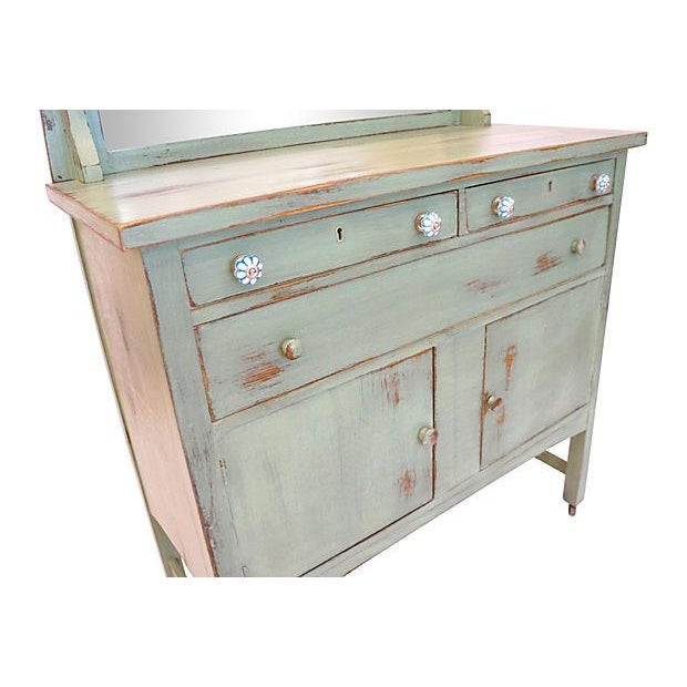 Distressed Green Mirror Hutch - Image 6 of 6