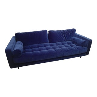 Tufted Navy Blue Velvet Sofa