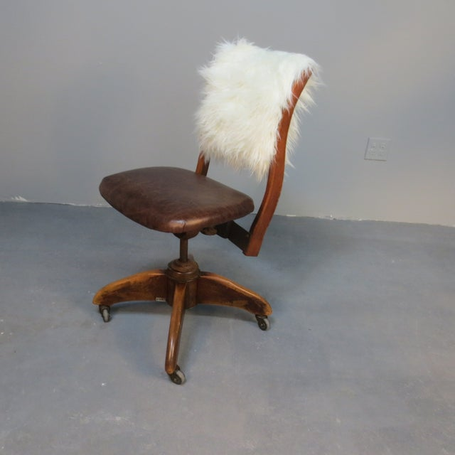Art Deco Office Chair With Fur Back - Image 2 of 5