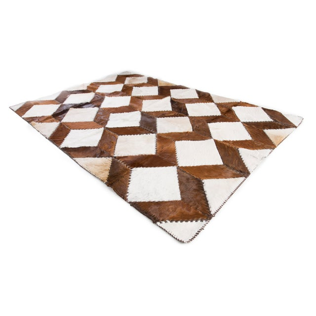 "Square Chevron Cowhide Patchwork Area Rug - 5'5"" x 7'11"" - Image 2 of 8"
