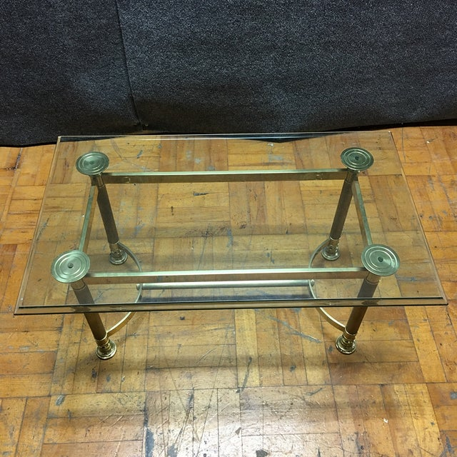 Hollywood Regency Brass & Glass Coffee Table - Image 3 of 6