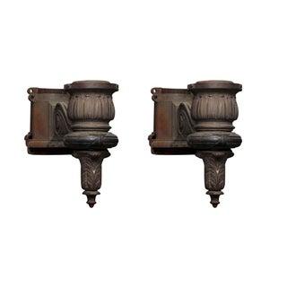 Large Cast Iron General Electric Lamp Post Sconces - a Pair