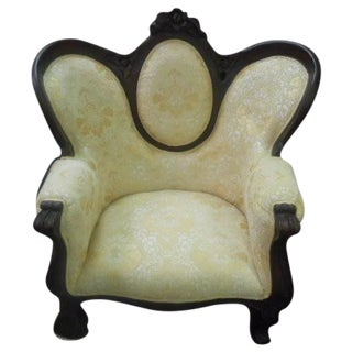Victorian Style Wood Trim Parlor Chair