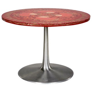 France & Son Red-Painted Tulip Table