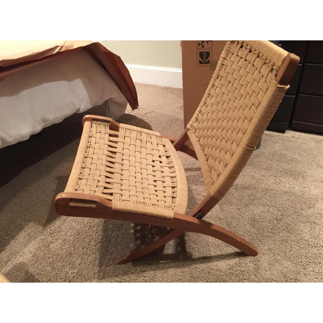 Wegner Style Folding Woven Chairs - A Pair - Image 4 of 6