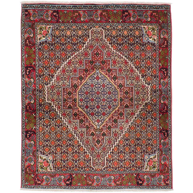 "Senneh Persian Kurdish Rug, 4'0"" x 5'1"" - Image 1 of 2"