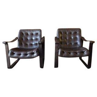 Vintage Danish Modern Leather Lounge Chairs - Pair
