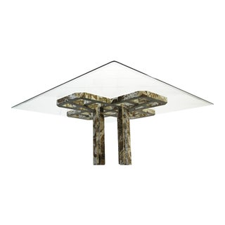Intricate Vintage Italian Marble Dining Table