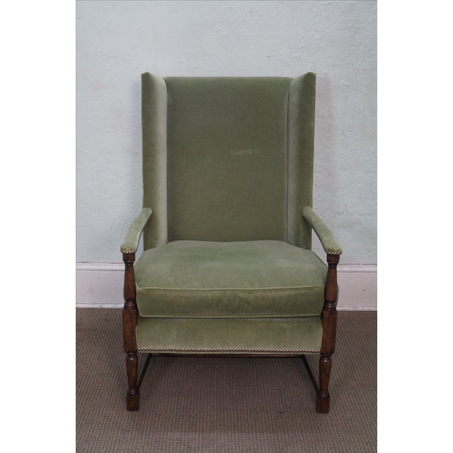 green upholstered high back arm chair chairish. Black Bedroom Furniture Sets. Home Design Ideas