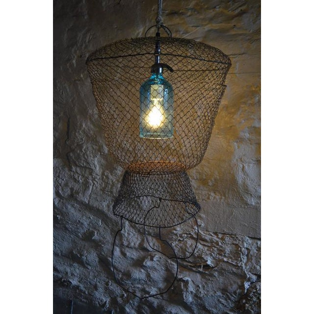 Pendant Light from Seltzer Bottle Suspended in French, Steel Mesh Fish Basket - Image 5 of 11