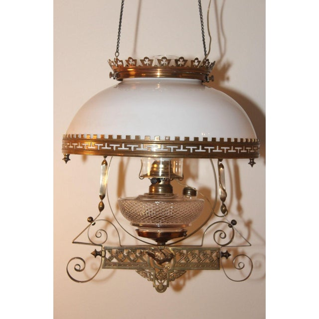 Antique Victorian Electric Oil Lamp Chandelier