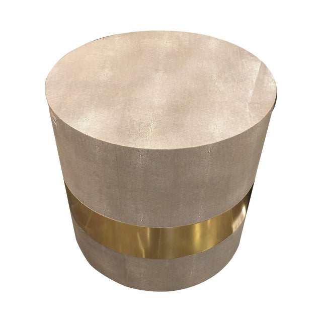 Made Goods Brass Banding Shagreen Side Table - Image 1 of 8