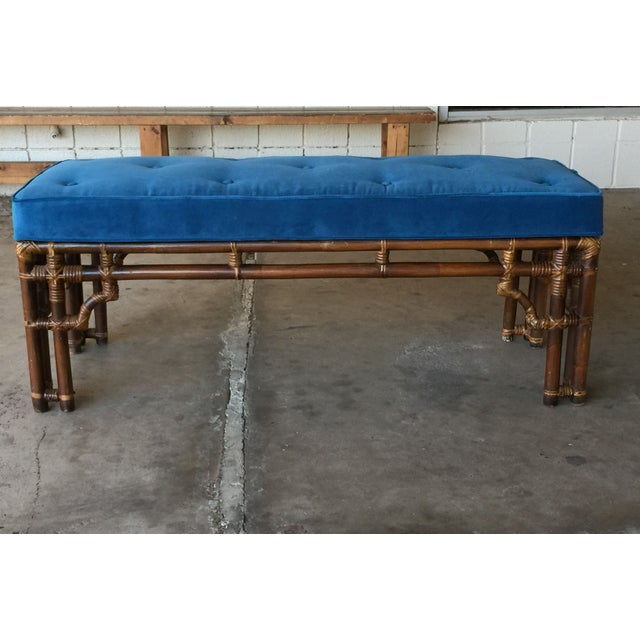 Vintage Chinoiserie Rattan Bench - Image 2 of 5