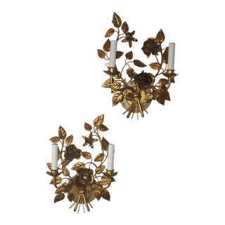 Vintage Gold-Leaf Sconce - A Pair