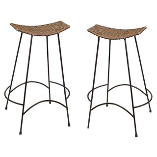 Arthur Umanoff Wicker and Iron Bar Stools - A Pair