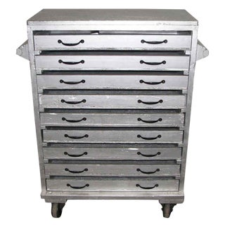 Sliver Painted Wood 9-Drawer Chest